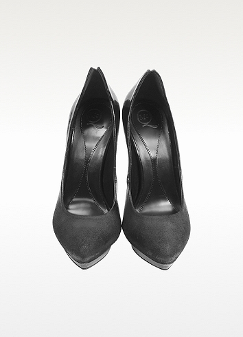 McQ Black Patent Leather and Brushed Suede Platform Pump
