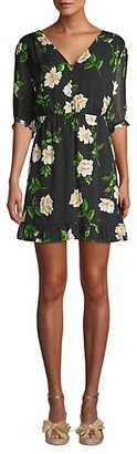 The Kooples Floral Short-Sleeve Silk Mini A-Line Dress