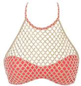 Luli Fama Coral And Gold Bra Swimsuit Gold Fire Illusion.