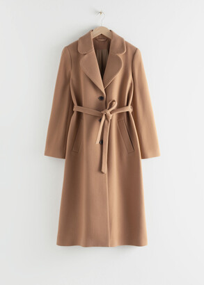 And other stories A-Line Wool Blend Belted Coat