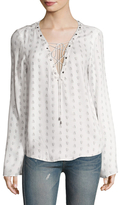 The Jetset Diaries Hayworth Printed Lace Up Blouse
