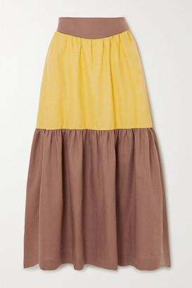 ANNA MASON Eva Tiered Linen Maxi Skirt - Mustard