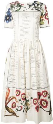 Oscar de la Renta Floral Script Print Dress