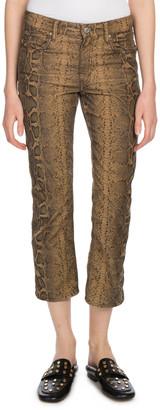 Etoile Isabel Marant Apolo Cropped Snake-Print Straight-Leg Jeans