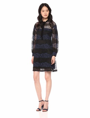 Gabby Skye Women's Long Sleeved Round Neck Lace A-line Dress