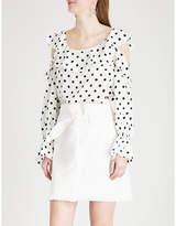 KITRI Susan ruffled polka-dot crepe top