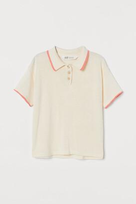 H&M Fine-knit Polo Shirt - White