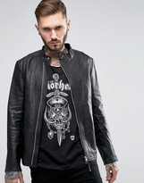 Religion Leather Jacket With Asymetrical Zip
