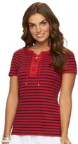 Chaps Women's Lace-Up Tee