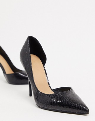 Truffle Collection pointed stiletto heels in black snake