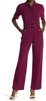 Donna Morgan Short Sleeve Belted Utility Pocket Jumpsuit