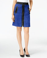 ECI Faux-Suede Mixed-Media A-Line Skirt