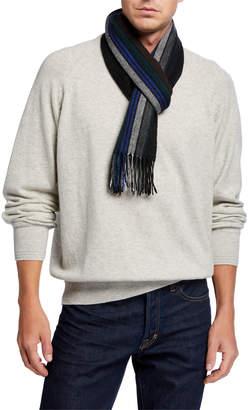 Paul Smith Men's College-Stripe Wool Scarf