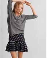 Express marled lace-up back circle hem sweater