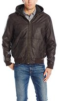 Levi's Men's Sherpa Lined Rugged Buffed Cow Faux Leather Hooded Bomber Jacket