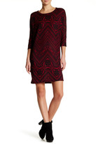 Bobeau Cocoon Elbow Sleeve Print Dress