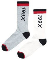 New Look 2 Pack White And Grey 199x Print Socks