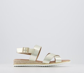 Office Selena Espadrille With Eva Sole Sandals Gold Leather