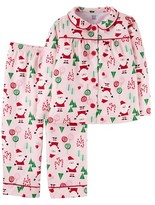 Toddler Girls' Long-Sleeve Fleece Coat Pajama Set Pink Christmas - Just One YouMade by Carter's®
