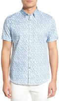 Ted Baker &Leafit Leaf& Print Modern Slim Fit Short Sleeve Sport Shirt