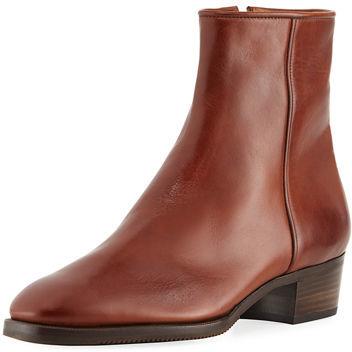 Gravati Low-Heel Leather Zip Ankle Boot