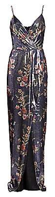 ML Monique Lhuillier Women's Sleeveless Floral Sequin Gown