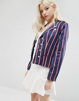Sister Jane Academy Jacket In Pinstripe