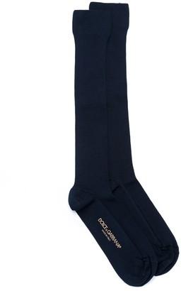 Dolce & Gabbana Contrasting Logo Socks
