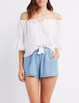 Charlotte Russe Crochet-Trim Embroidered Off-The-Shoulder Blouse