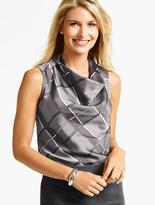 Talbots Plaid Drapeneck Top