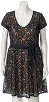 Wrapper Juniors' Plus Size Cap Sleeve Lace Dress