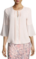 T Tahari 3/4-Sleeve Pintucked Blouse