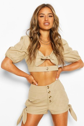 boohoo Petite Linen Look Tie Detail Crop Top