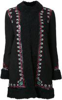 Vilshenko embroidered floral detail coat - women - Sheep Skin/Shearling - 8