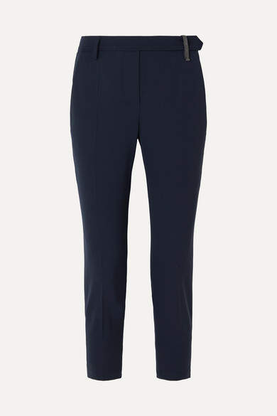 Brunello Cucinelli Cropped Bead-embellished Wool-blend Tapered Pants - Navy