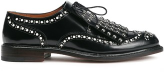 Clergerie Fringed Studded Glossed-leather Brogues