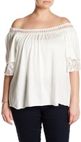 Hip Layered Lace Off-the-Shoulder Shirt (Plus Size)