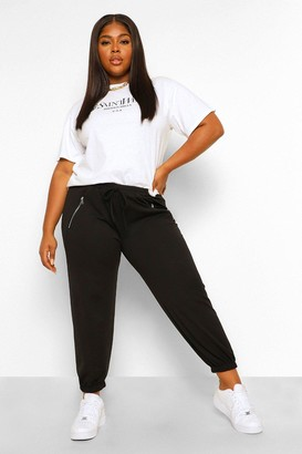 boohoo Plus Zip Detail Tailored Jogger