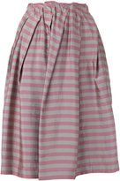 Jil Sander Navy striped pleated skirt - women - Acetate/Cupro/Polyimide - 36
