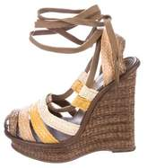 Bottega Veneta Straw Platform Wedge Sandals