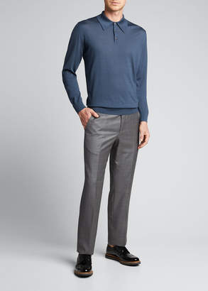 Prada Men's Wool Long-Sleeve Polo Shirt