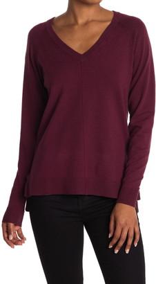 Bobeau V-Neck Knit Pullover Sweater