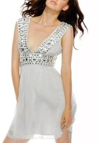 Mirrored Satin Chiffon Dress