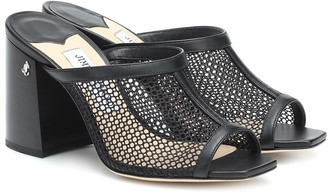 Jimmy Choo Joud 85 leather-trimmed mesh sandals