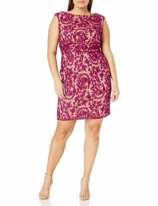 Adrianna Papell Women's Size Lace Sheath Dress Plus