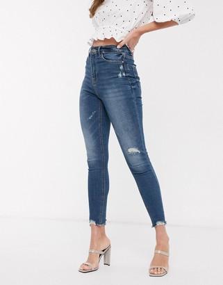 Stradivarius super high waist jeans in mid wash-Blue
