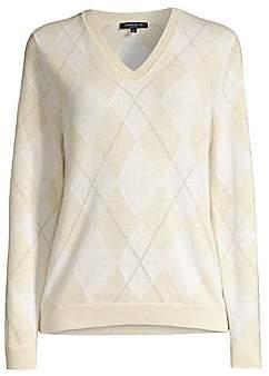 Lafayette 148 New York Women's Lurex-Knit Argyle Cashmere Sweater