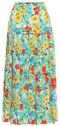 Rixo Tina floral cotton midi skirt