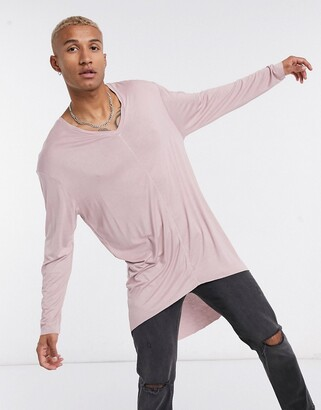 ASOS DESIGN oversized viscose long sleeve t-shirt with drop hem in dusty pink