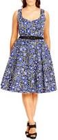 City Chic Plus Size Women's 'Mini Poppy' Print Fit & Flare Dress